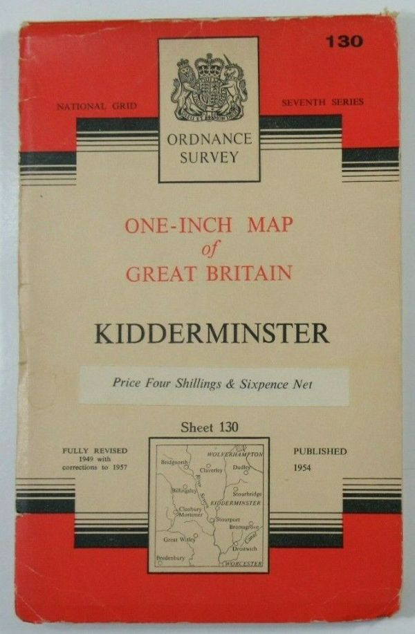 1957 Old OS Ordnance Survey One-Inch Seventh Series Map 130 Kidderminster OS One-Inch Seventh Series maps 2