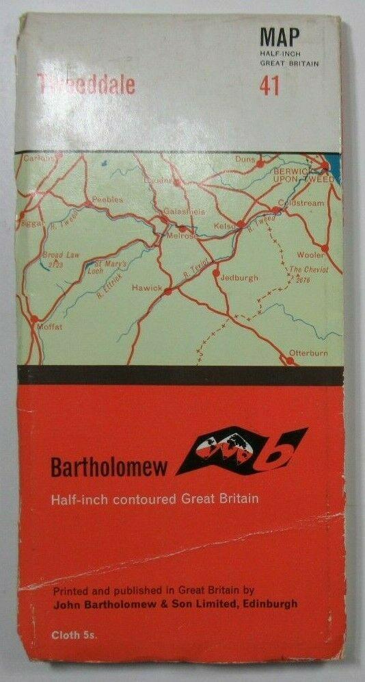 1964 Old Vintage Bartholomew's Half-Inch Countoured CLOTH Map 41 Tweeddale Bartholomew Maps 2