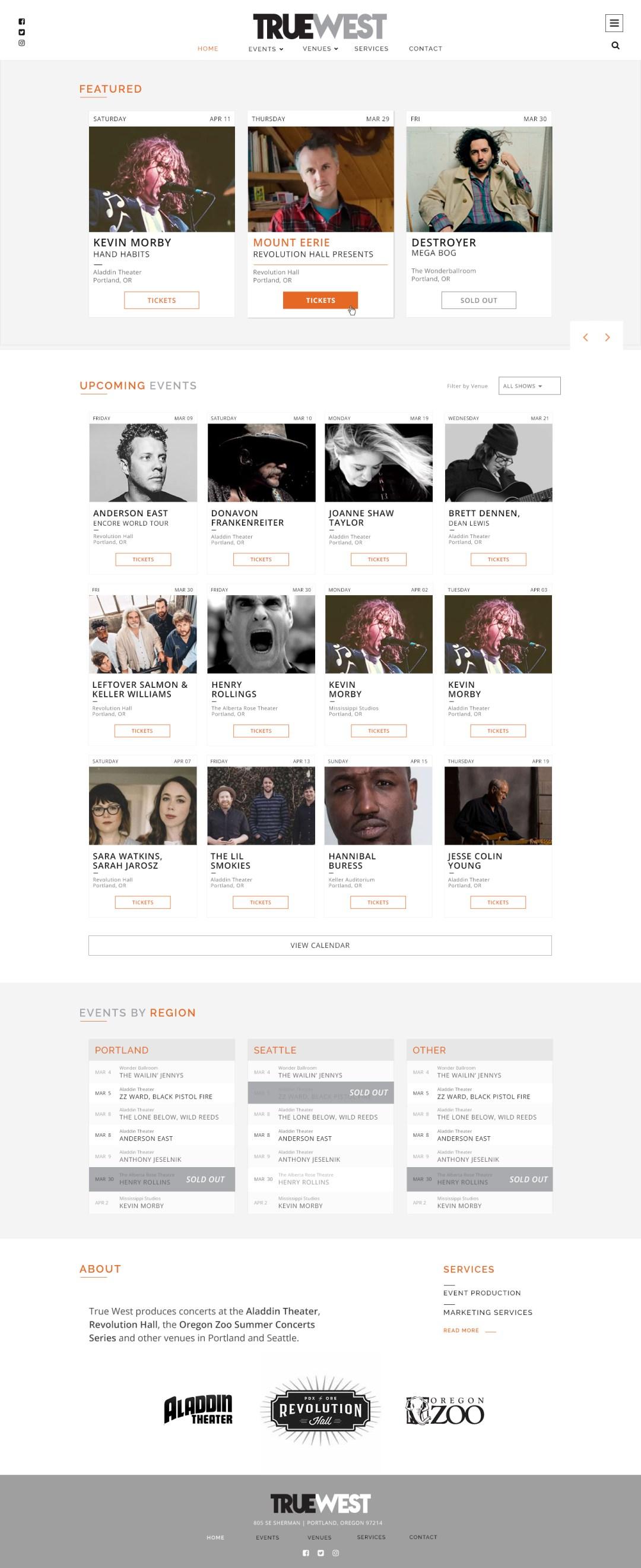 True West Presents - Home Page Design