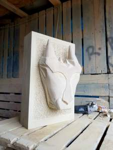 hand carved Yorkshire stone feature sculpture