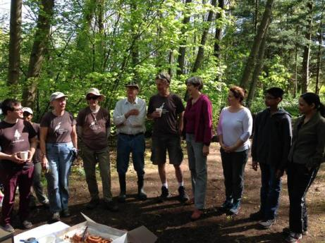 JSG volunteers discuss our work with Park Board commissioner Catherine Evans on Earth Day 2015