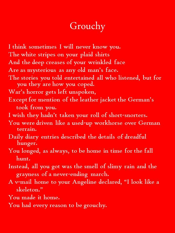 "Image of 15-Sentence Portrait Poem ""Grouchy"""