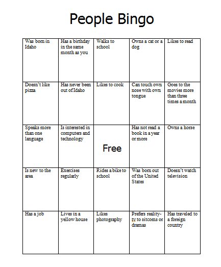 Back to School: People Bingo - Word Bank Writing & Editing