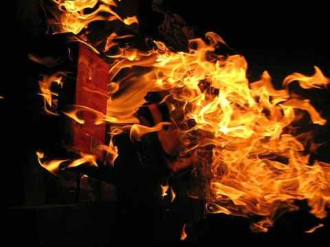 Controversial books, picture of burning books