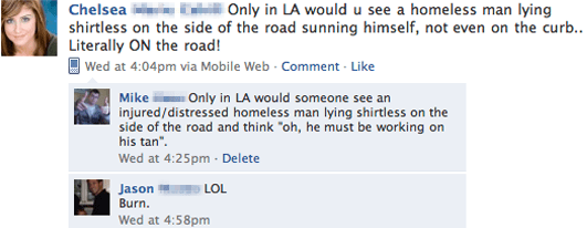 facebook fail homeless person in LA