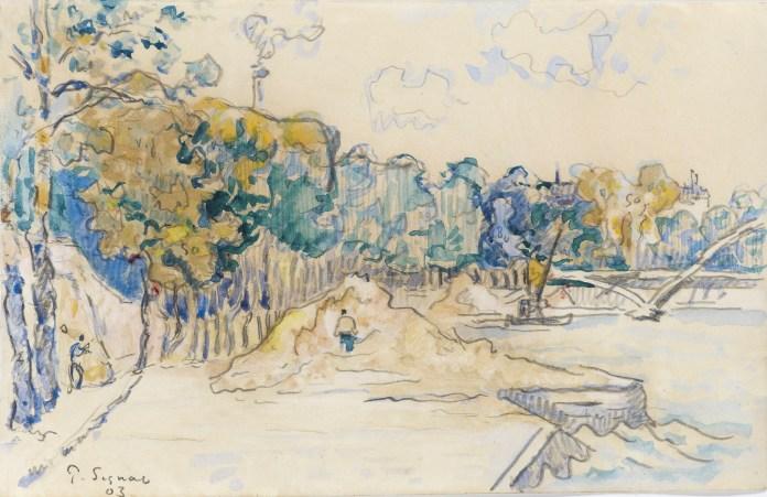 Paris, la passerelle Debilly, 1903 by Paul Signac. Stoppenbach Delestre.