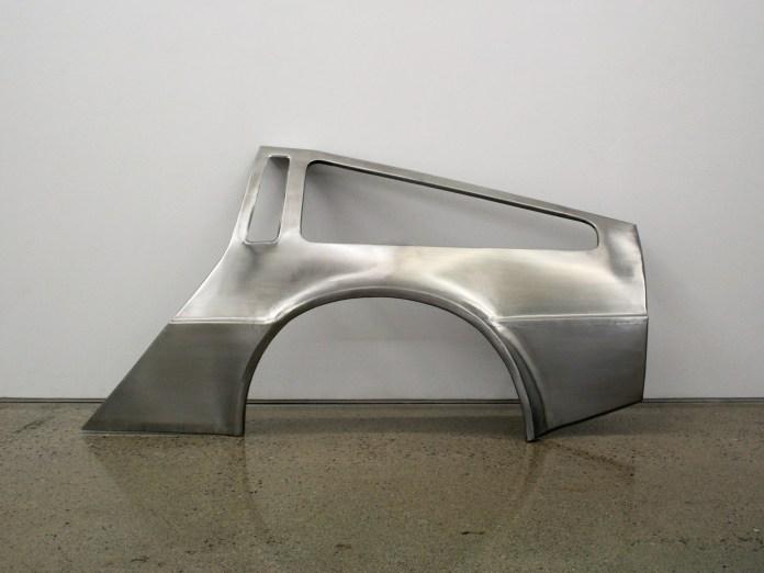 Sean Lynch, DeLorean Progress Report, 2009-11, handmade stainless steel bodypanels of DeLorean DMC-12 car, courtesy the artist and Ronchini Gallery