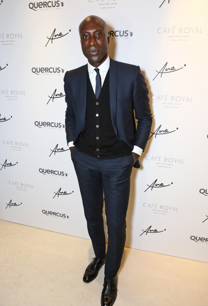 LONDON, ENGLAND - JUNE 24: Ozwald Boateng arrives at the Quercus Foundation Pre-Wimbledon Cocktails with Ana Ivanovic in the Ten Room at Hotel Cafe Royal on June 24, 2015 in London, England. Pic Credit: Dave Benett