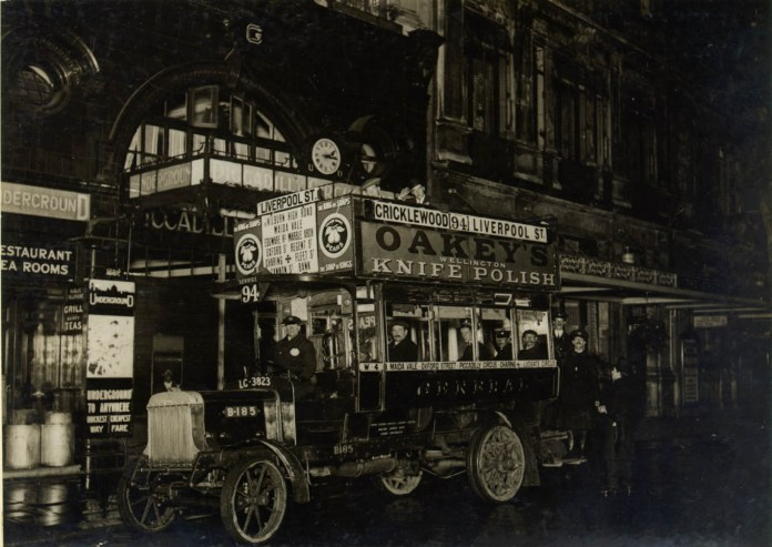 First night bus outside Piccadilly Station 1913