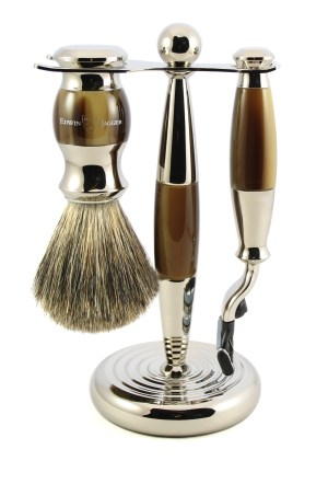 Three Piece Shaving Set in Faux Horn
