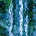Massieve ijspegels tegen een rotswand, waar de groene achterliggende vegetatie doorheen schijnt. Dit resulteert in een abstract beeld van gladde oppervlakken met blauwe, witte en groene kleurtinten.