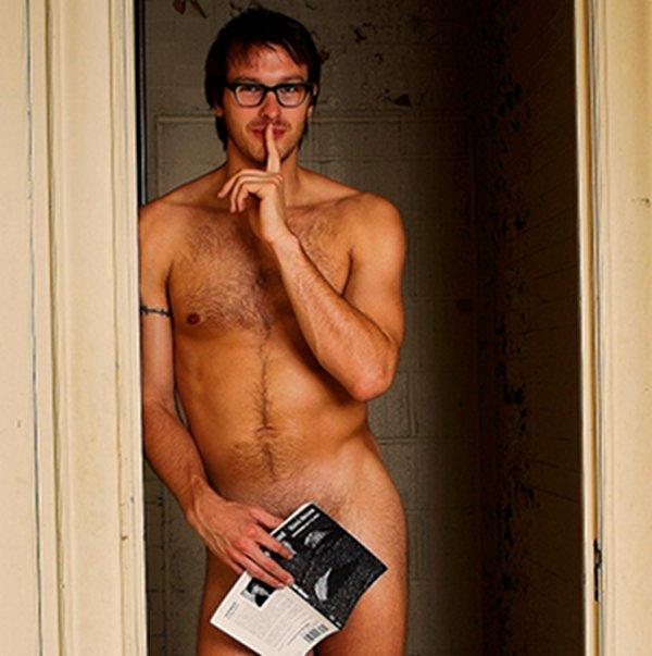 Mannelijke bibliotheek pin-ups