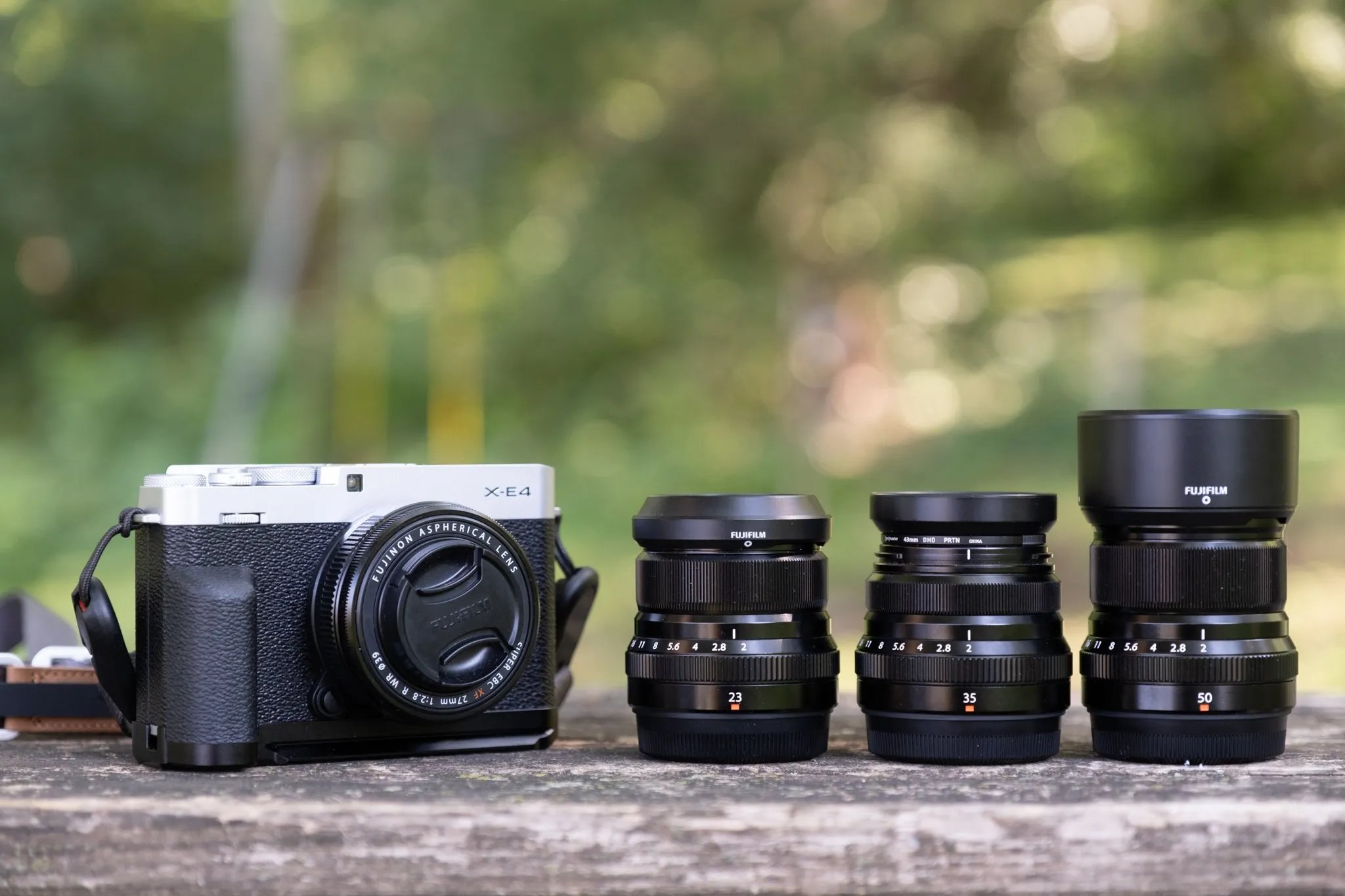 In the Fuji X-E4 review I talk about using the camera with the Fujicron lenses. Here's a photo of them all together.