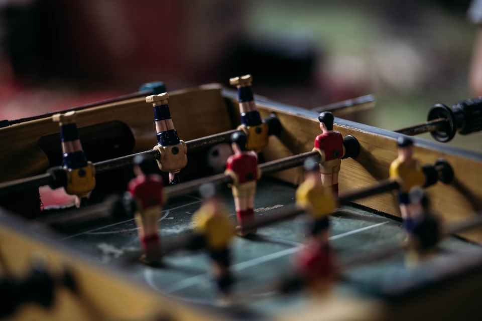 close up photography of table football