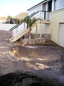 Work begins - excavating soakaway pit Aug '04