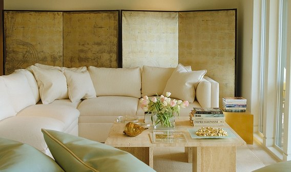 Jerry Jacobs Design. Tiburon view condo. Living room, Japanese screen