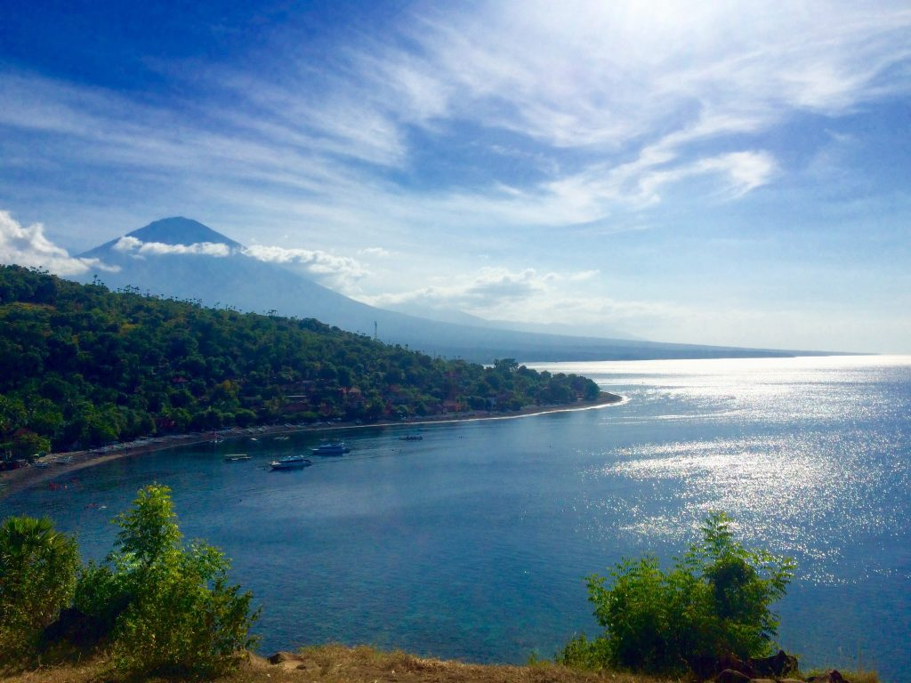 """""""Sunset Point"""" in Amed, view on Jemeluk bay and mount Agung"""