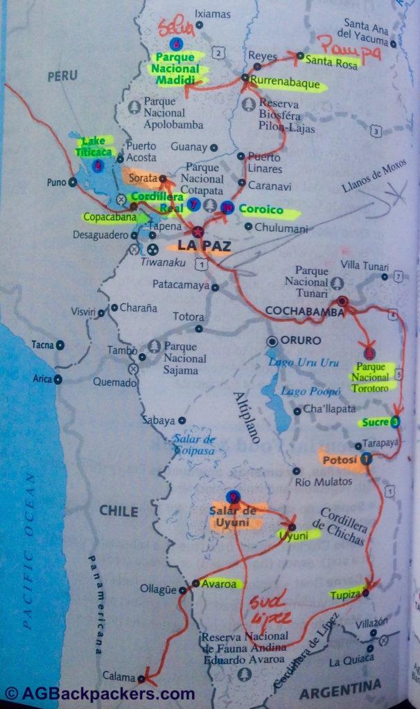 Itinéraire en Bolivie