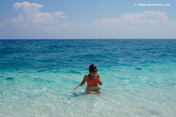 Relaxing in Crystal Clear Water in Kalanggaman Island