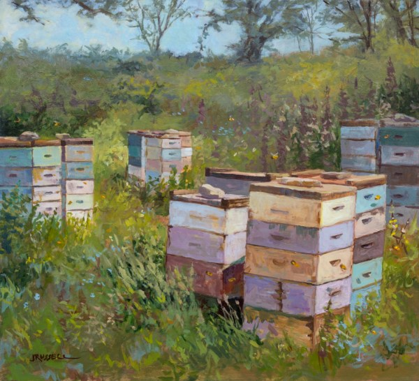 "Bee Boxes • Acrylic on Panel • 18"" x 17.75"" • 2014"