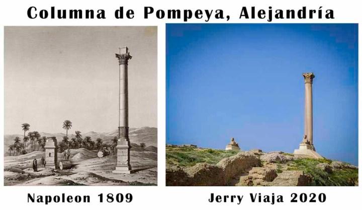 Comparacion de la columna de Pompeya en Alejandria, Egipto 2020 vs 1809