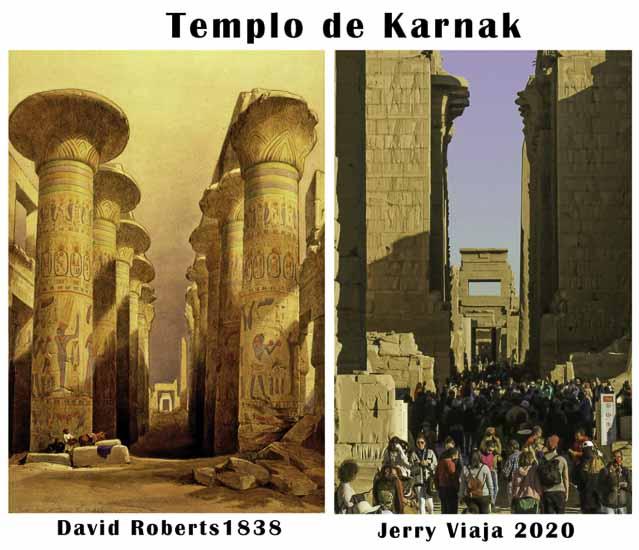 Comparacion del templo karnak en Egipto 2020 vs 1838