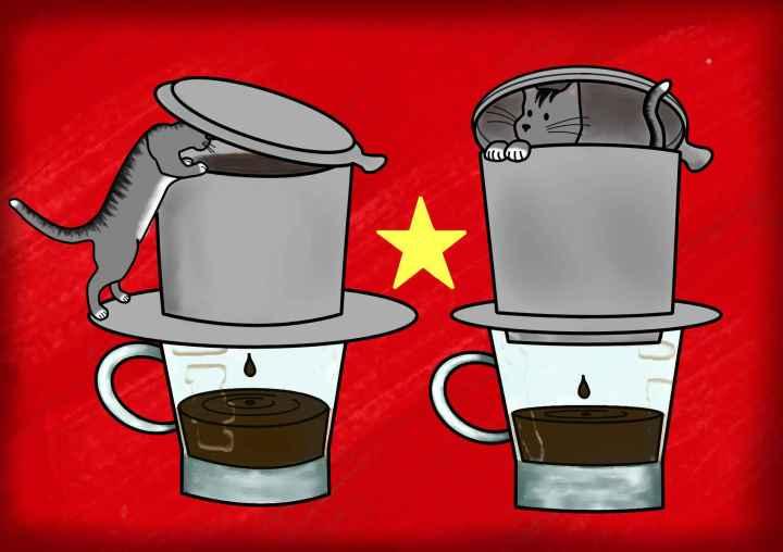 Dibujo de jerry con el café vietnamita y la bandera de Vietnam