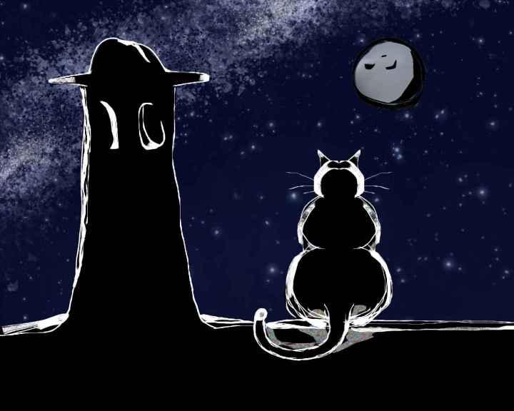 Gato observando la luna sobre un techoen la alpujarra granadina alpujarreño