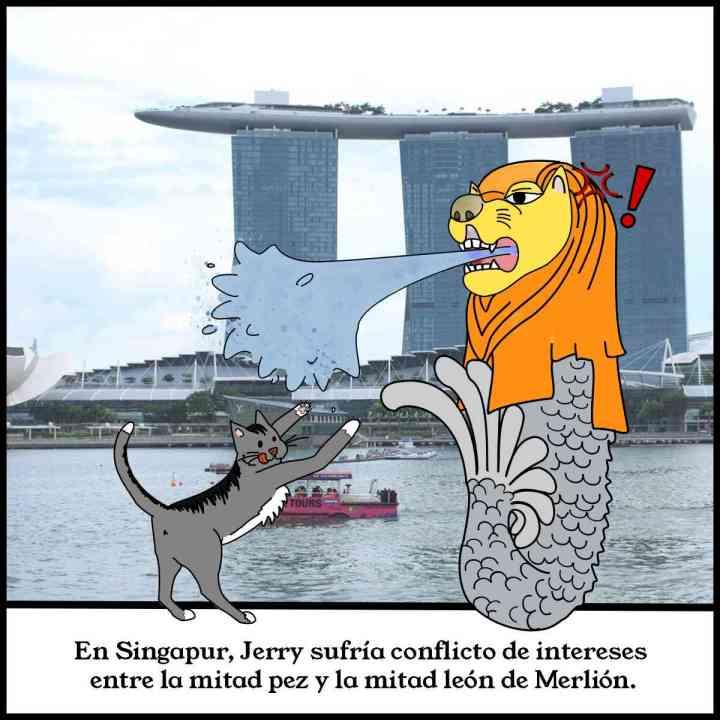 El gato Jerry en Singapur con el pez-león Merlion