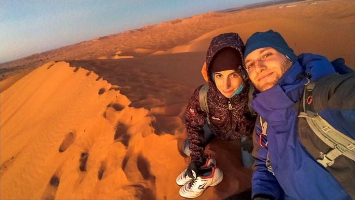 Atardecer en la duna más alta de Erb Chebbi, Desierto del Sahara