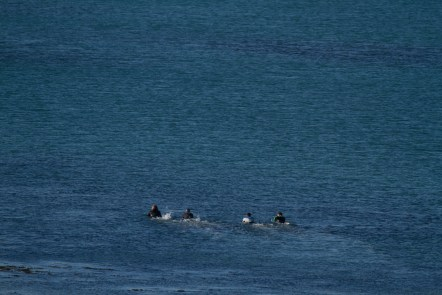 Simon, Colin, Clint and Darreth heading out on the long paddle.