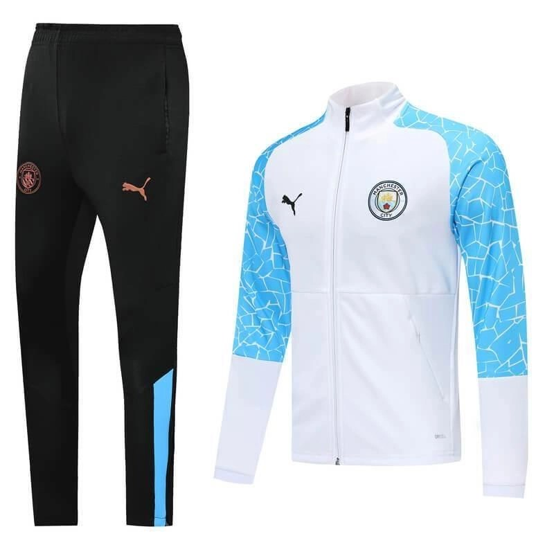 20/21 Manchester City White/Blue Tracksuit - Jersey Loco