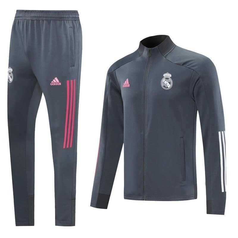 20/21 Real Madrid Grey/Pink Tracksuit - Jersey Loco