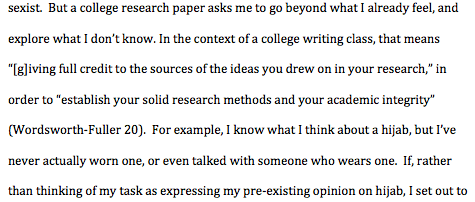 the parenthetical citation appears outside the quoted material - Example Of A Mla Essay