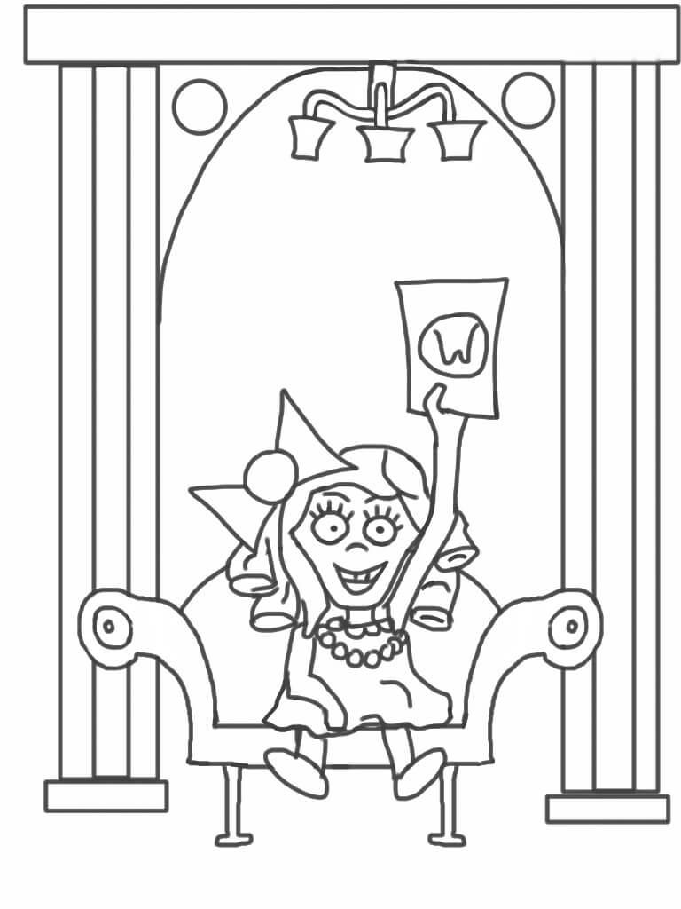 Nasty little Veruca Salt waves her golden ticket. (Coloring page.)