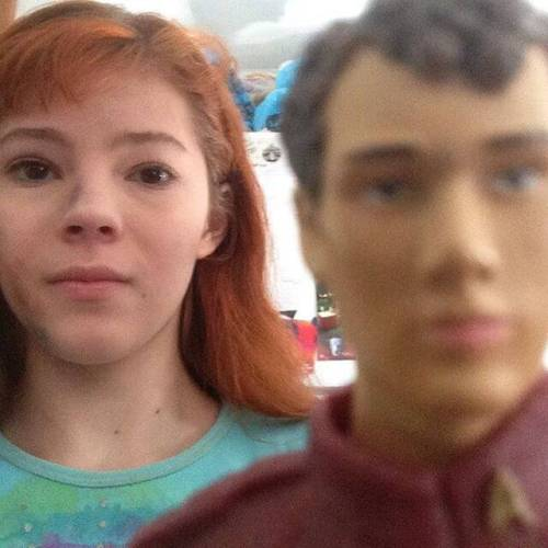 A selfie with a Chekov action figure after learning of Anton Yelchin's death :(