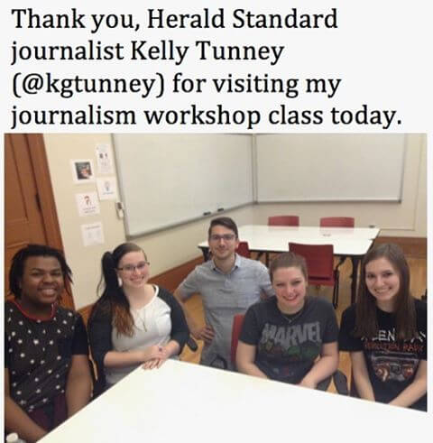 Thank you, Herald Standard journalist Kelly Tunney, for visiting my class today.