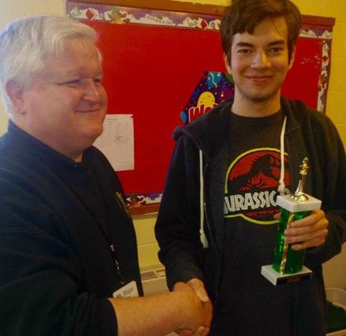 The boy tied for second place in Saturday's Monroeville Chess Club tournament.