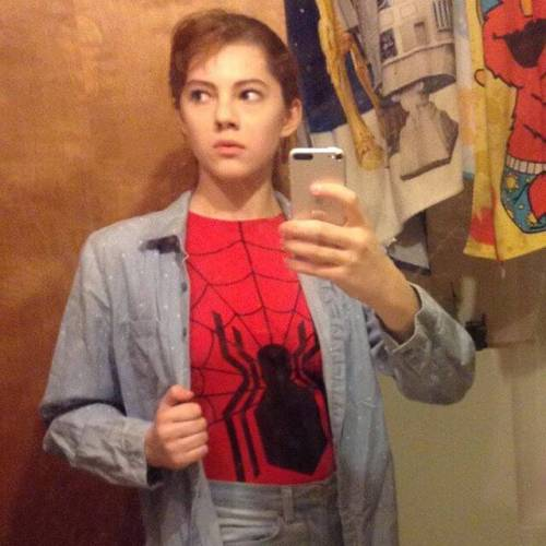 The girl was cast as Luciana (the younger sister) in The Comedy of Errors in the PPT's summer Shakespeare camp. Show is July 28 at the O'Reilly Theater. (This Spidey selfie is the only pic she would let me post.)