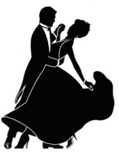 Stylized silhouette of a dancing couple in fancy clothes.