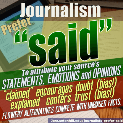"""Journalists prefer the word """"said."""""""
