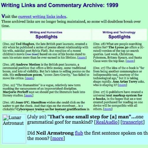 On this day in 1999 I first added a date to the list of web links I had been curating. (The image has long since broken.)