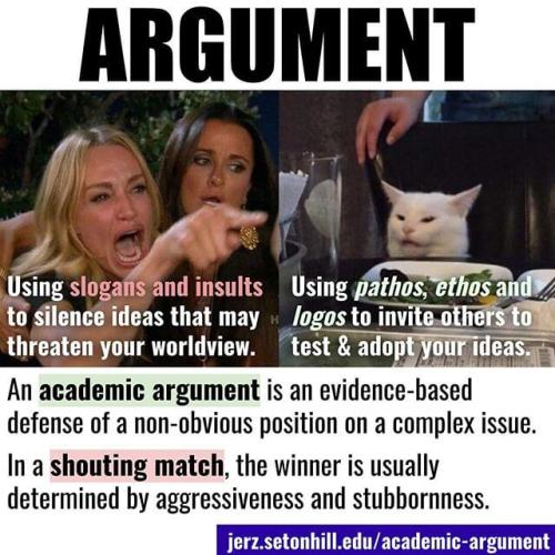 Academic Argument: an evidence-based offense of a non-obvious position on a complex issue.