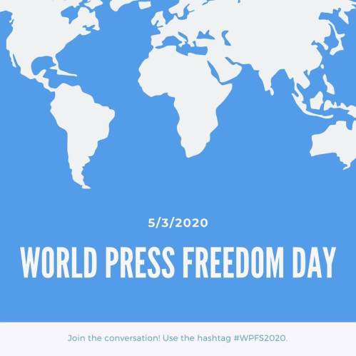World Press Freedom Day. (Don't take the free press for granted. Journalists are not the enemy.)