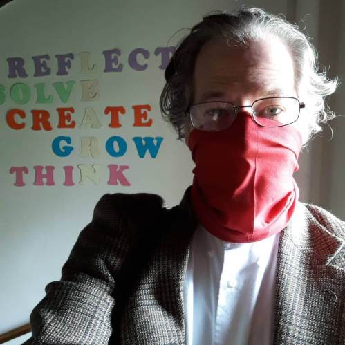 Masked up, so I don't infect you, in case you are in a vulnerable group. Feeling healthy. Not afraid. Just being decent to fellow humans.