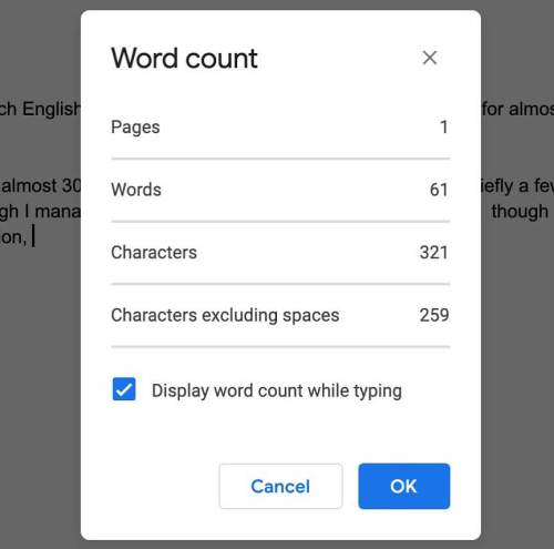 How long has Google Docs let you pop up a window with your current word count? Why wasn't I informed?
