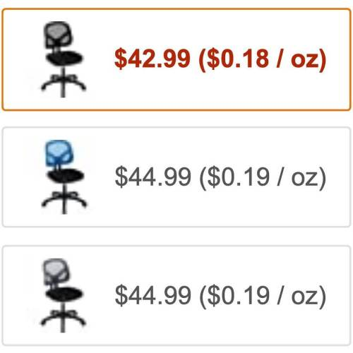 The black chair is down to 18¢ per ounce? Shut up and take my money, Amazon!