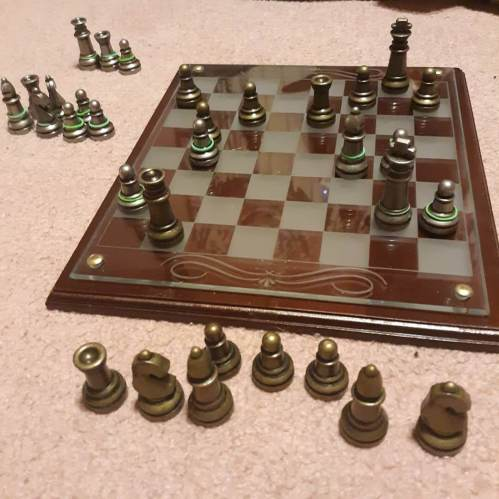 He checkmates me in two moves. I lasted about a half hour, and went down fighting.