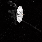 NASA's Voyager 2 space probe; a big radio dish surrounded by spindly appendages.