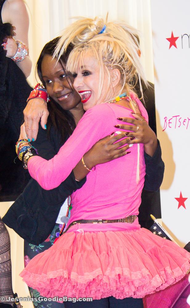 Betsey Johnson with fan